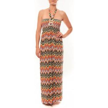 Kleidung Damen Maxikleider By La Vitrine Robe Sylvia F594 Orange Orange