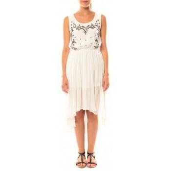 Kleidung Damen Kleider De Fil En Aiguille Robe Victoria & Karl GH0012 Blanc Weiss