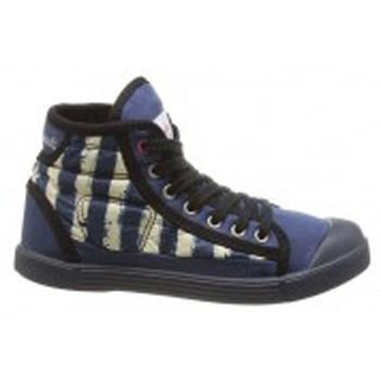 Schuhe Damen Sneaker High Little Marcel Baskets Samba Up Stripes Bleu Blau