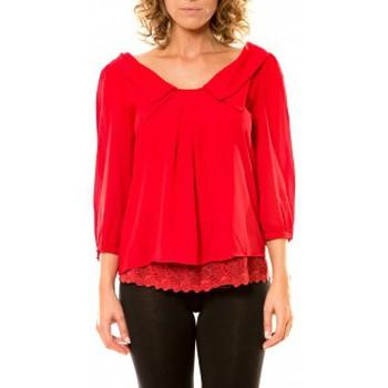 Kleidung Damen Hemden Vision De Reve Vision de Rêve Chemisier Col Claudine IP11012 Rouge Rot