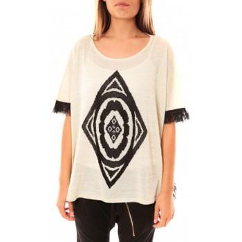 Kleidung Damen Pullover Tcqb Poncho Di&A 0196 Blanc Weiss
