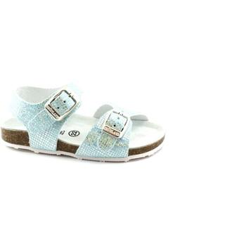 Schuhe Kinder Pantoffel Grunland AFRE SB0812 22 hellblauen Himmel Sandale Mädchen Schnallen Glit Metalizzato