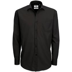 Kleidung Herren Langärmelige Hemden B And C SMP61 Schwarz