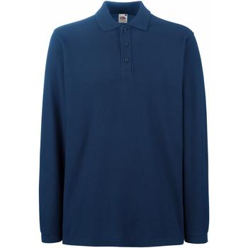 Kleidung Herren Langärmelige Polohemden Fruit Of The Loom 63310 Marineblau