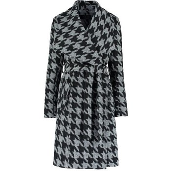 Kleidung Damen Mäntel De La Creme Large Collar Check Coat Black
