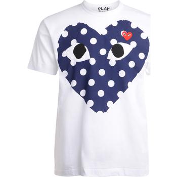 Kleidung Herren T-Shirts Comme Des Garcons Herren T-Shirt  mit blauem Herz mit Weiss