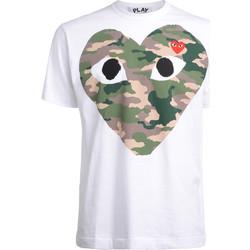 Kleidung Herren T-Shirts Comme Des Garcons T-Shirt  mit Camouflage-Herz Weiss