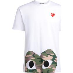 Kleidung Herren T-Shirts Comme Des Garcons T-Shirt  mit Camouflage und Rot Herz Weiss