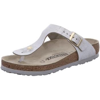 Schuhe Damen Pantoffel Birkenstock Pantoletten Gizeh 1008699 silber