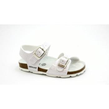 Schuhe Kinder Sandalen / Sandaletten Grunland ARIA SB0241 weiße Sandale Mädchen Schnallen Birkenglitter Bianco