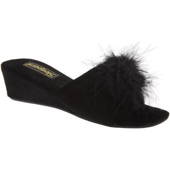 Schuhe Damen Pantoffel Sleepers Rosette Schwarz
