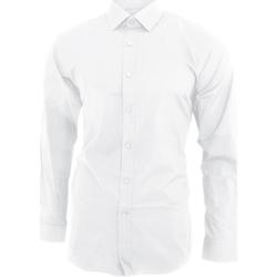 Kleidung Herren Langärmelige Hemden Brook Taverner BK130 Weiß