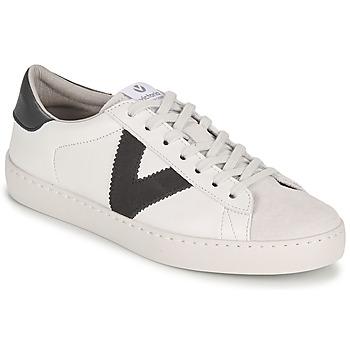 Schuhe Damen Sneaker Low Victoria BERLIN PIEL CONTRASTE Weiss / Grau
