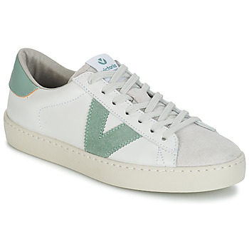 Schuhe Damen Sneaker Low Victoria BERLIN PIEL CONTRASTE Weiss / Grün