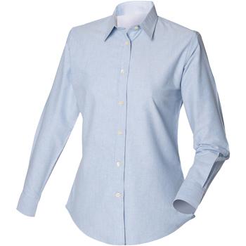 Kleidung Herren Langärmelige Hemden Henbury Classic Oxford Blau