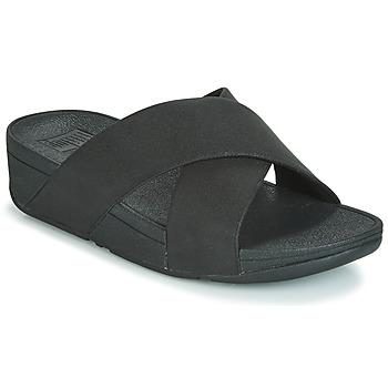 Schuhe Damen Pantoffel FitFlop LULU SHIMMERLUX SLIDES Schwarz