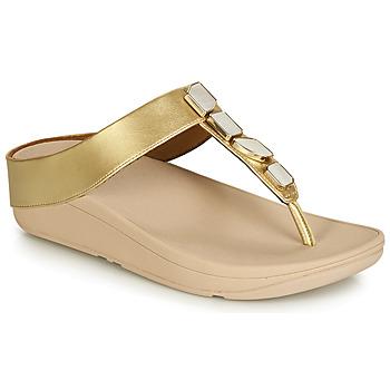 Schuhe Damen Zehensandalen FitFlop FINO SHELLSTONE Gold