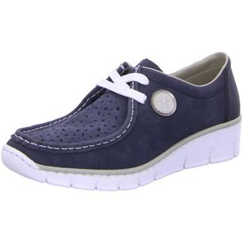 Schuhe Damen Derby-Schuhe Rieker Schnuerschuhe 53746-15 blau