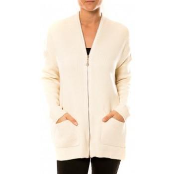 Kleidung Damen Strickjacken Tcqb Gilet Lely Wood L586 Blanc Weiss