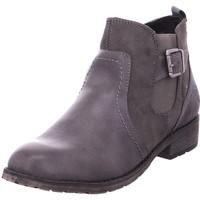 Schuhe Damen Stiefel Stiefelette Schlupf- RV- glatte GREY 204